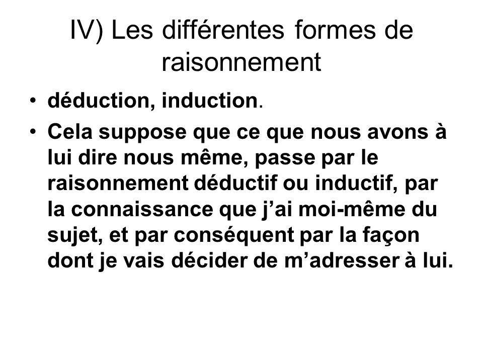 IV) Les différentes formes de raisonnement déduction, induction. Cela suppose que ce que nous avons à lui dire nous même, passe par le raisonnement dé