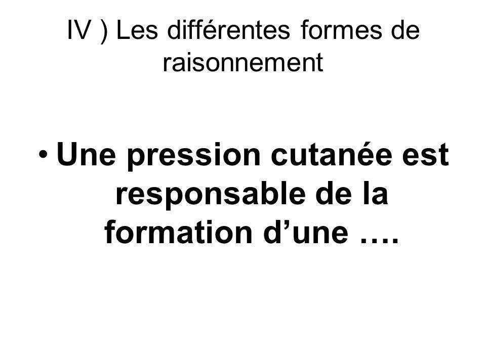 IV ) Les différentes formes de raisonnement Une pression cutanée est responsable de la formation dune ….