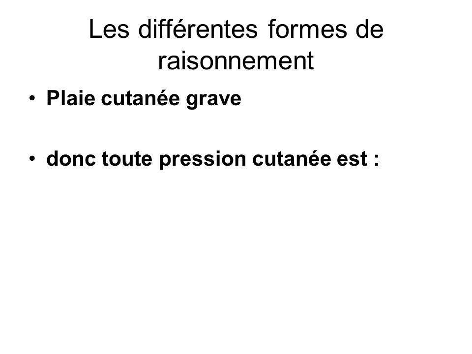 Les différentes formes de raisonnement Plaie cutanée grave donc toute pression cutanée est :