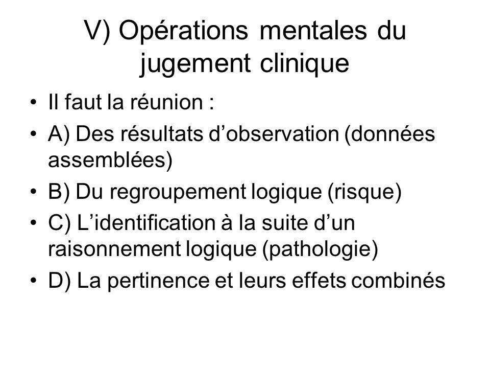 V) Opérations mentales du jugement clinique Il faut la réunion : A) Des résultats dobservation (données assemblées) B) Du regroupement logique (risque
