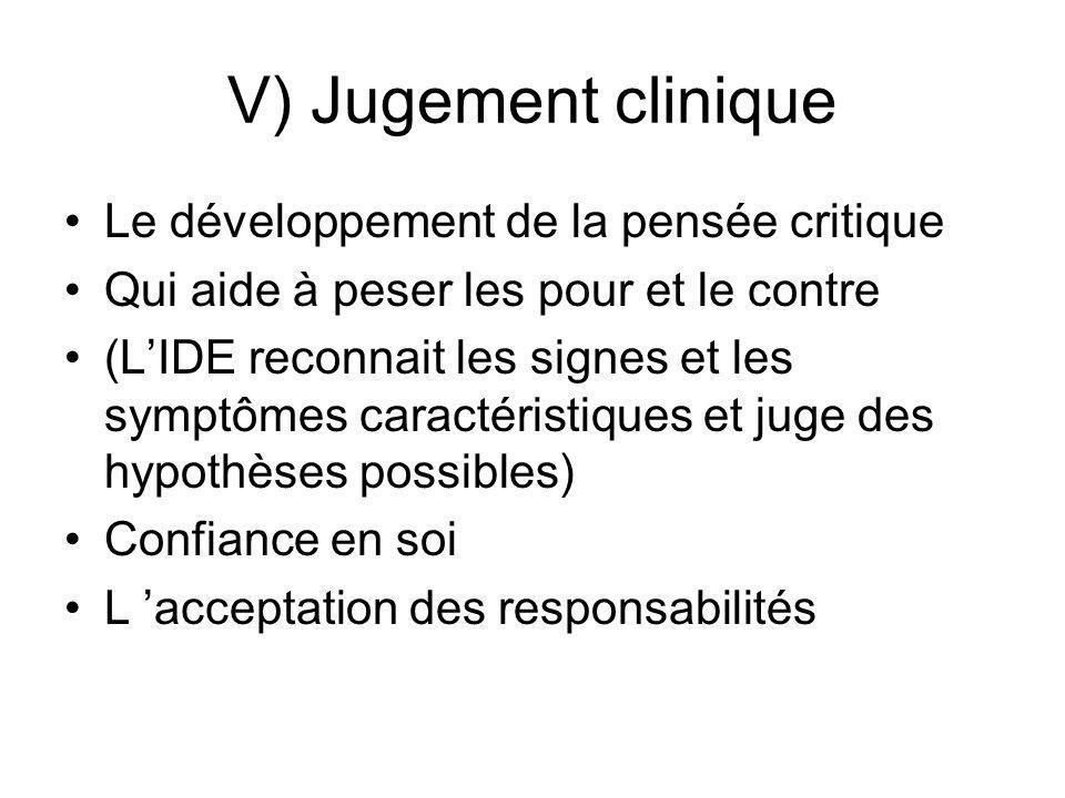 V) Jugement clinique Le développement de la pensée critique Qui aide à peser les pour et le contre (LIDE reconnait les signes et les symptômes caracté