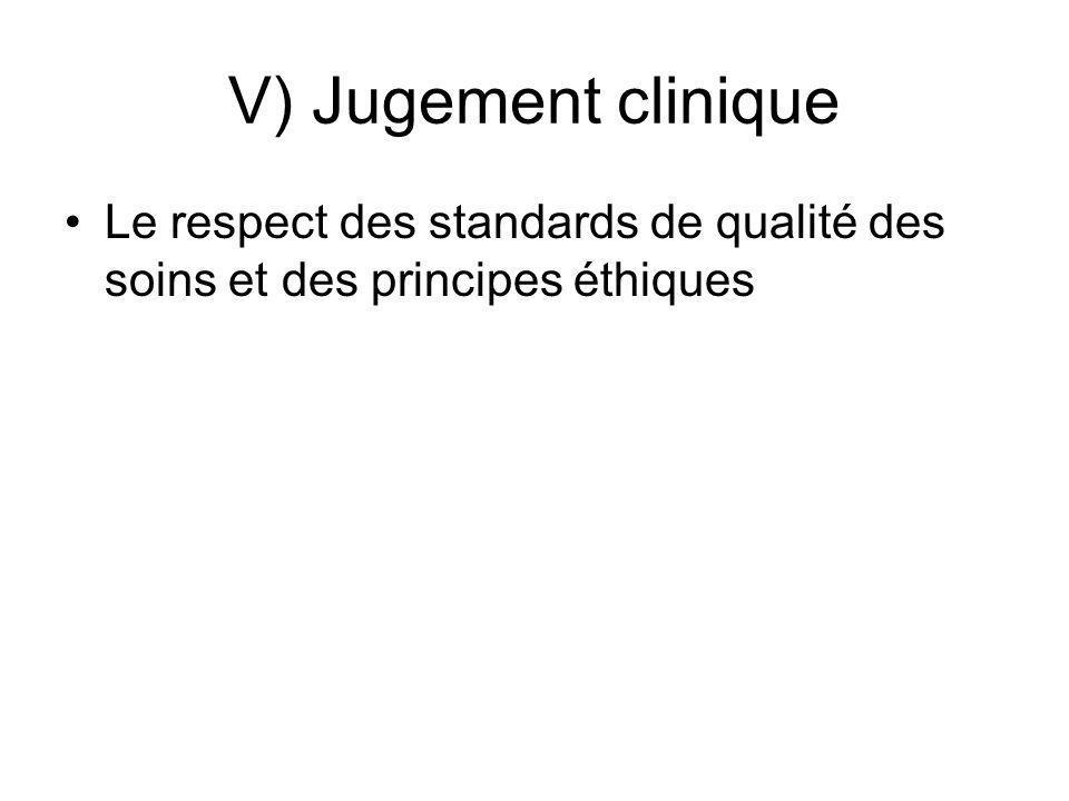 V) Jugement clinique Le respect des standards de qualité des soins et des principes éthiques