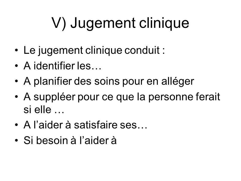 V) Jugement clinique Le jugement clinique conduit : A identifier les… A planifier des soins pour en alléger A suppléer pour ce que la personne ferait
