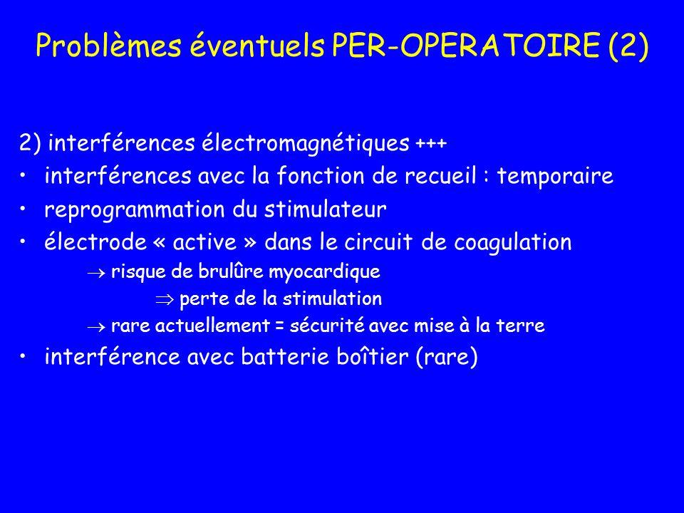 Problèmes éventuels PER-OPERATOIRE (2) 2) interférences électromagnétiques +++ interférences avec la fonction de recueil : temporaire reprogrammation