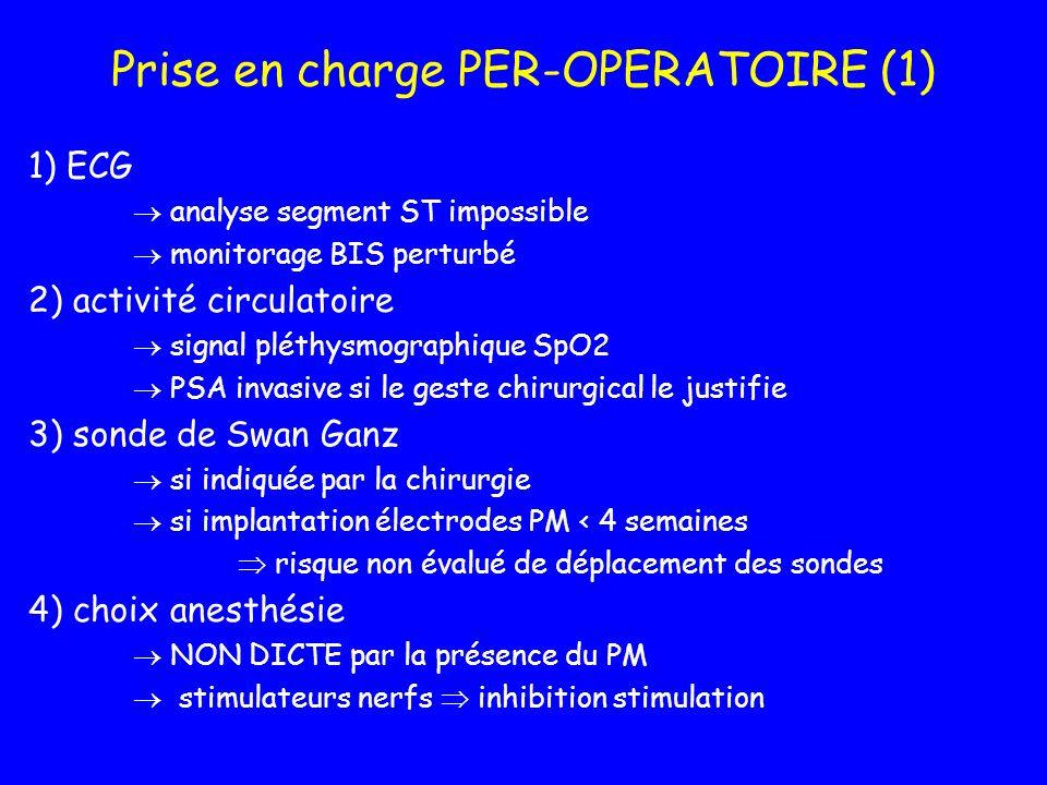Prise en charge PER-OPERATOIRE (1) 1) ECG analyse segment ST impossible monitorage BIS perturbé 2) activité circulatoire signal pléthysmographique SpO
