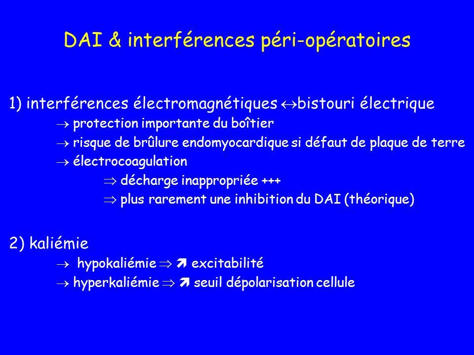 DAI & interférences péri-opératoires 1) interférences électromagnétiques bistouri électrique protection importante du boîtier risque de brûlure endomy