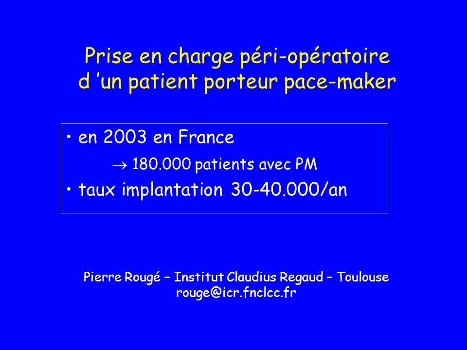 Prise en charge péri-opératoire d un patient porteur pace-maker en 2003 en France 180.000 patients avec PM taux implantation 30-40.000/an Pierre Rougé
