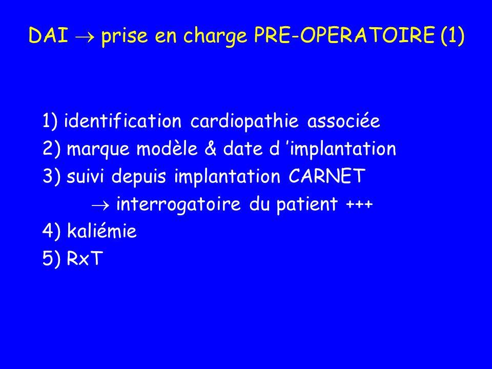 DAI prise en charge PRE-OPERATOIRE (1) 1) identification cardiopathie associée 2) marque modèle & date d implantation 3) suivi depuis implantation CAR