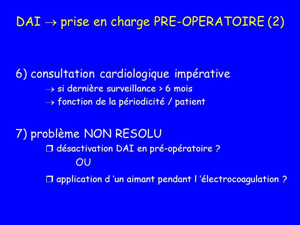 DAI prise en charge PRE-OPERATOIRE (2) 6) consultation cardiologique impérative si dernière surveillance > 6 mois fonction de la périodicité / patient