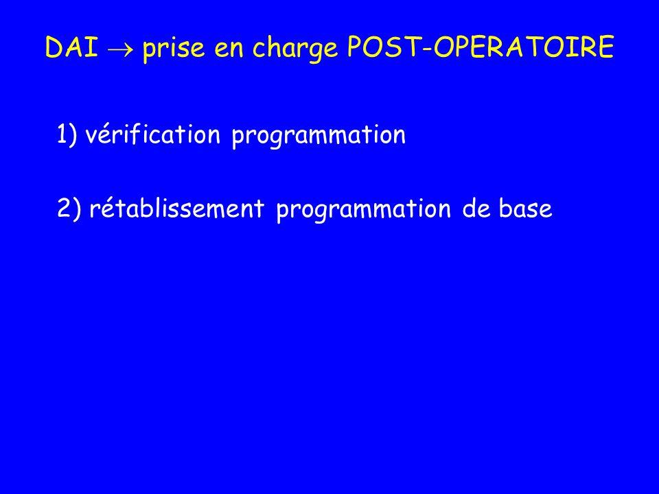 DAI prise en charge POST-OPERATOIRE 1) vérification programmation 2) rétablissement programmation de base