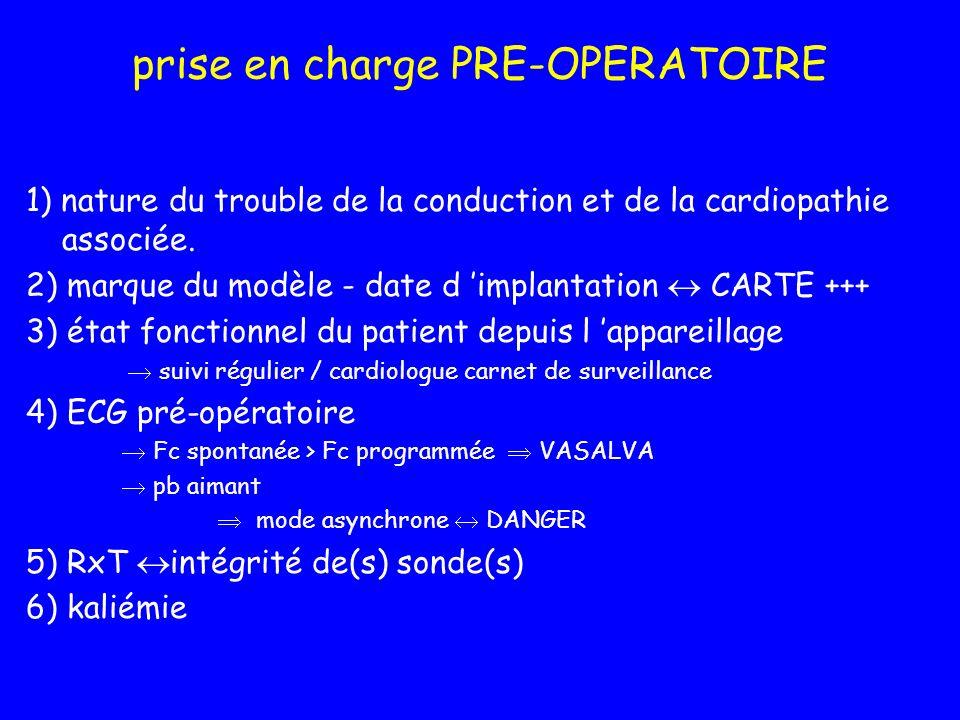 prise en charge PRE-OPERATOIRE 1) nature du trouble de la conduction et de la cardiopathie associée. 2) marque du modèle - date d implantation CARTE +