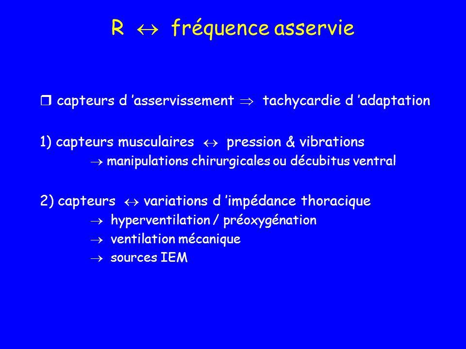 R fréquence asservie capteurs d asservissement tachycardie d adaptation 1) capteurs musculaires pression & vibrations manipulations chirurgicales ou d