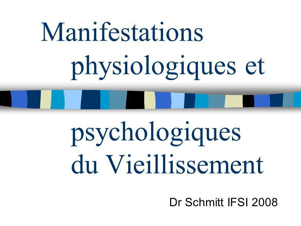 Manifestations physiologiques et psychologiques du Vieillissement Dr Schmitt IFSI 2008