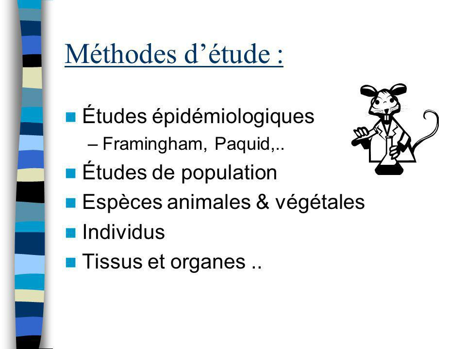 Méthodes détude : Études épidémiologiques –Framingham, Paquid,.. Études de population Espèces animales & végétales Individus Tissus et organes..