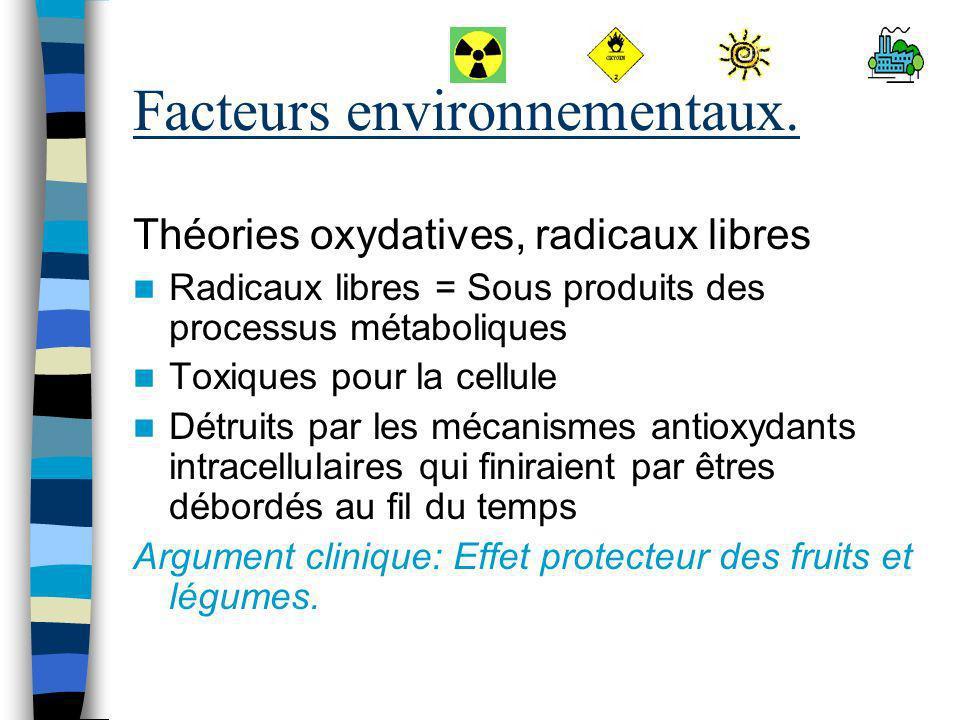 Facteurs environnementaux. Théories oxydatives, radicaux libres Radicaux libres = Sous produits des processus métaboliques Toxiques pour la cellule Dé