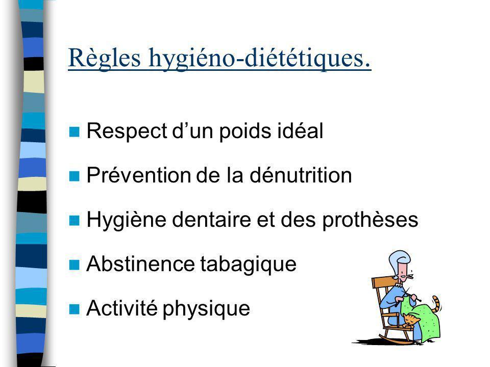 Règles hygiéno-diététiques. Respect dun poids idéal Prévention de la dénutrition Hygiène dentaire et des prothèses Abstinence tabagique Activité physi