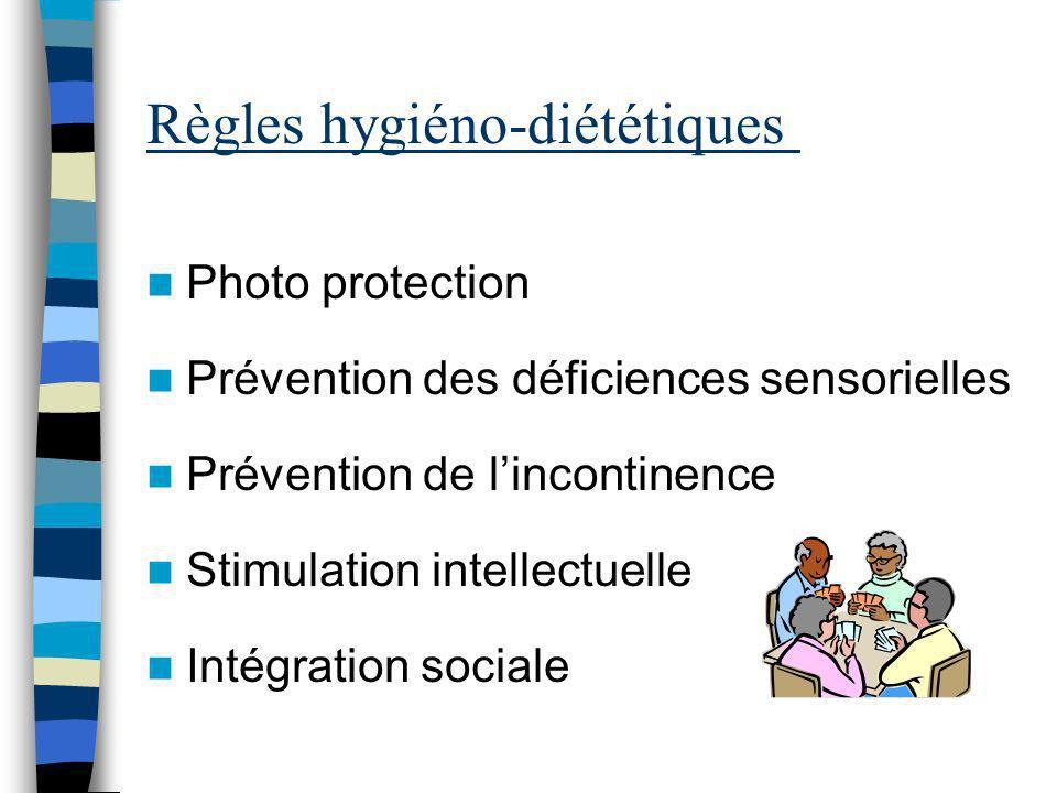 Règles hygiéno-diététiques Photo protection Prévention des déficiences sensorielles Prévention de lincontinence Stimulation intellectuelle Intégration