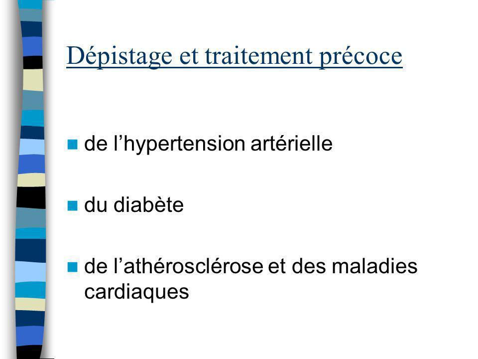 Dépistage et traitement précoce de lhypertension artérielle du diabète de lathérosclérose et des maladies cardiaques