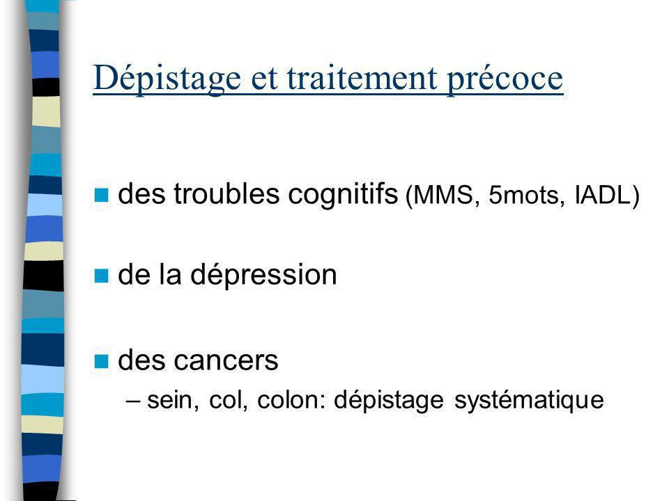Dépistage et traitement précoce des troubles cognitifs (MMS, 5mots, IADL) de la dépression des cancers –sein, col, colon: dépistage systématique