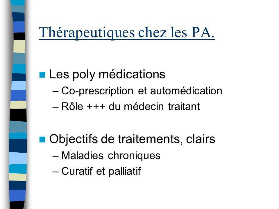 Thérapeutiques chez les PA. Les poly médications –Co-prescription et automédication –Rôle +++ du médecin traitant Objectifs de traitements, clairs –Ma