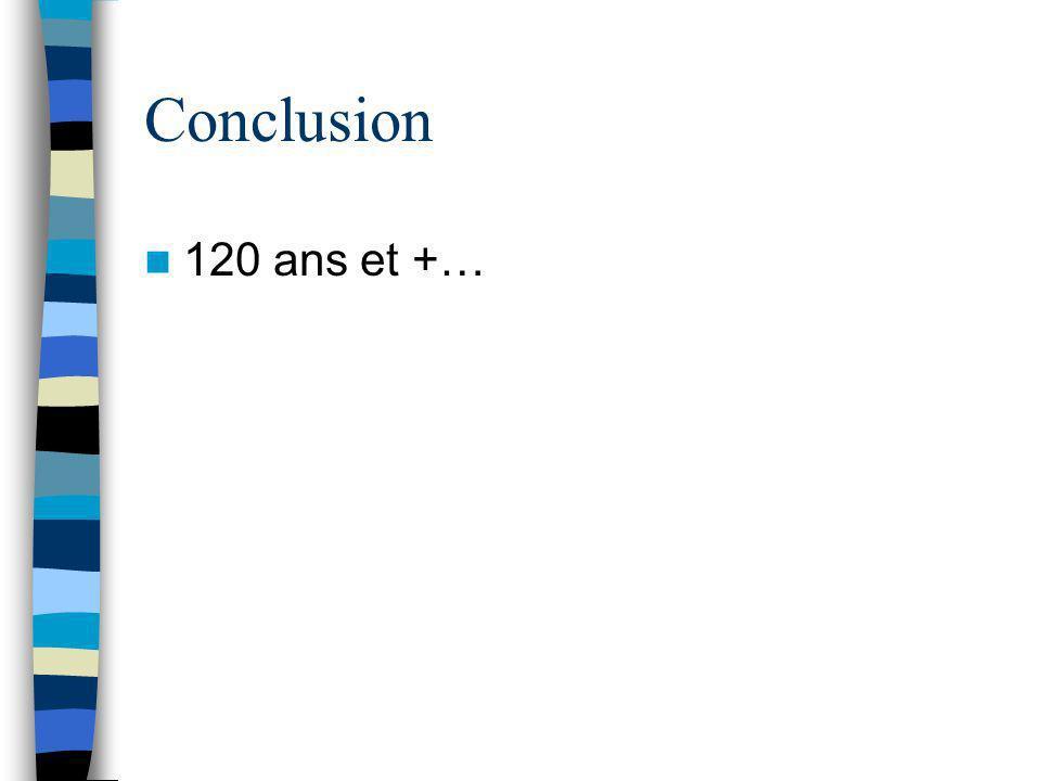 Conclusion 120 ans et +…