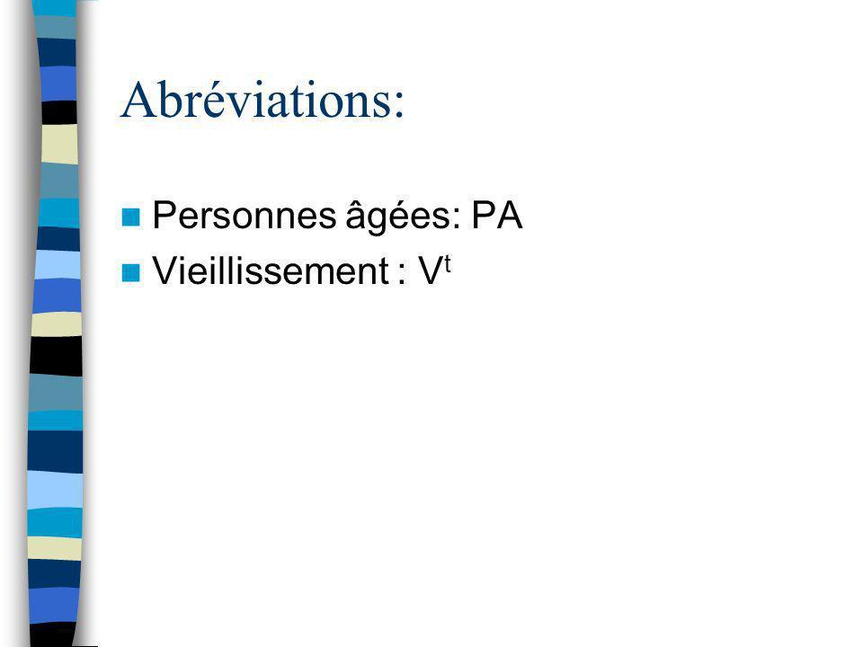 Abréviations: Personnes âgées: PA Vieillissement : V t