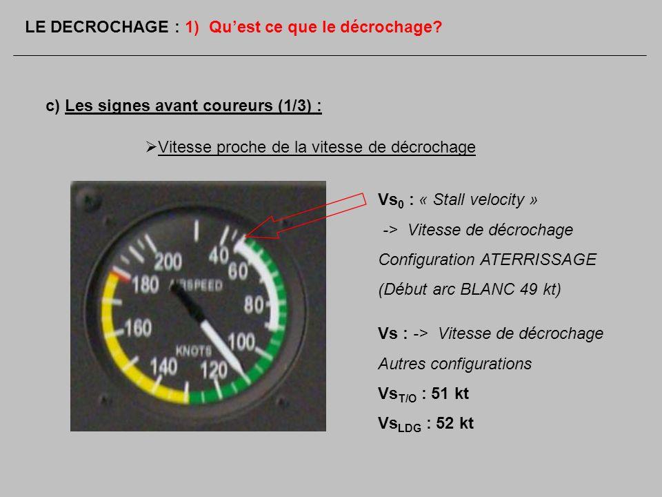 c) Les signes avant coureurs (1/3) : Vs 0 : « Stall velocity » -> Vitesse de décrochage Configuration ATERRISSAGE (Début arc BLANC 49 kt) Vs : -> Vite