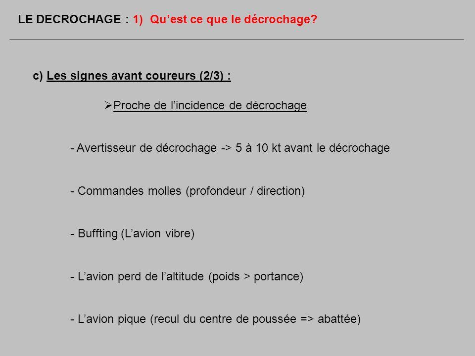 c) Les signes avant coureurs (2/3) : Proche de lincidence de décrochage - Avertisseur de décrochage -> 5 à 10 kt avant le décrochage - Commandes molle
