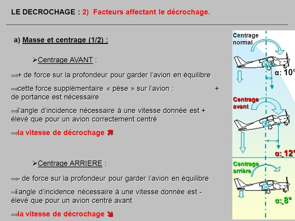 a) Masse et centrage (1/2) : LE DECROCHAGE : 2) Facteurs affectant le décrochage. Centrage AVANT : + de force sur la profondeur pour garder lavion en