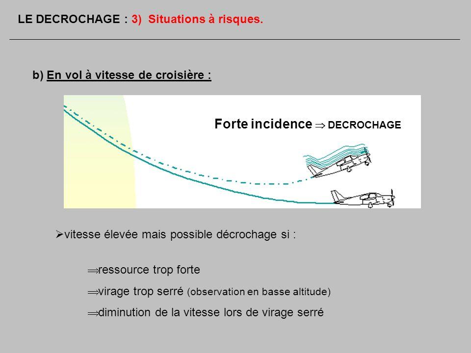 b) En vol à vitesse de croisière : vitesse élevée mais possible décrochage si : ressource trop forte virage trop serré (observation en basse altitude)
