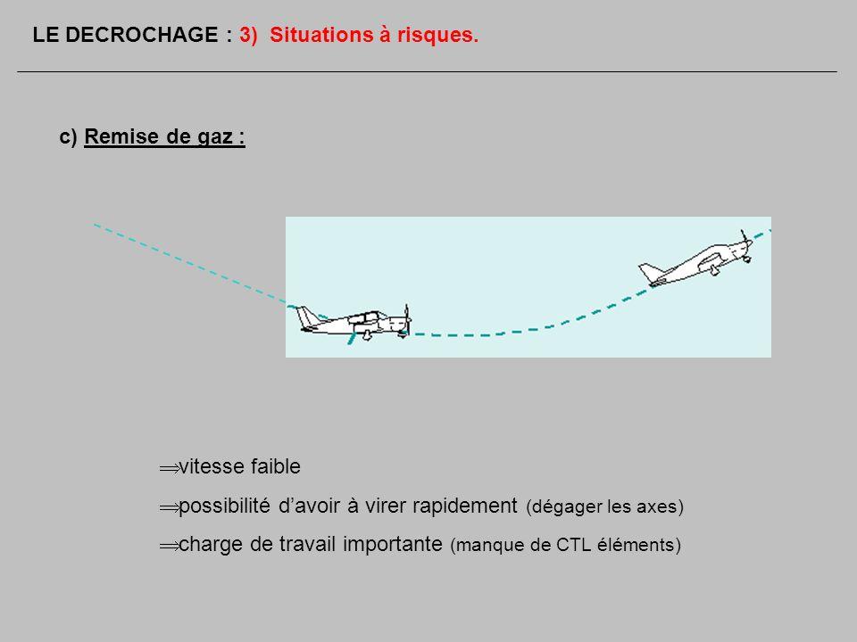 c) Remise de gaz : vitesse faible possibilité davoir à virer rapidement (dégager les axes) charge de travail importante (manque de CTL éléments) LE DE