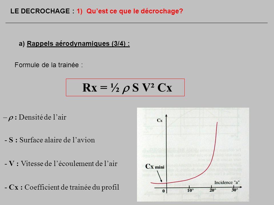 Formule de la trainée : Rx = ½ S V² Cx : Densité de lair - S : Surface alaire de lavion - V : Vitesse de lécoulement de lair - Cx : Coefficient de tra