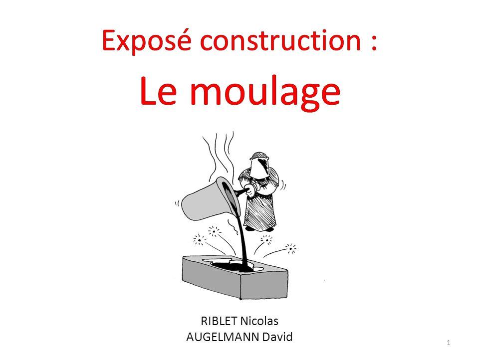 I - Introduction 1.1 - Quest ce que le moulage 1.2 – Où utilise ton le moulage II- Les moules permanents 2.1 - Le moulage en fonderie 2.1.a - Le moulage en coquille par gravité 2.1.b - le moulage basse pression en coquille 2.1.c - le moulage sous pression 2.1.d – dautres moulages non normalisés 2.2 - Moulage par injection III - Les moules non-permanents 3.1 - Le moulage en sable 3.2 – Le moulage en cire perdue IV - Les limites du moulage V - Conclusion 2