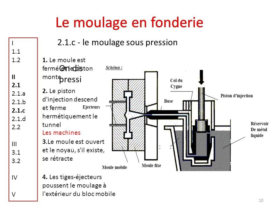 10 2.1.c - le moulage sous pression I 1.1 1.2 II 2.1 2.1.a 2.1.b 2.1.c 2.1.d 2.2 III 3.1 3.2 IV V On distingue deux types de machines sous pression Le