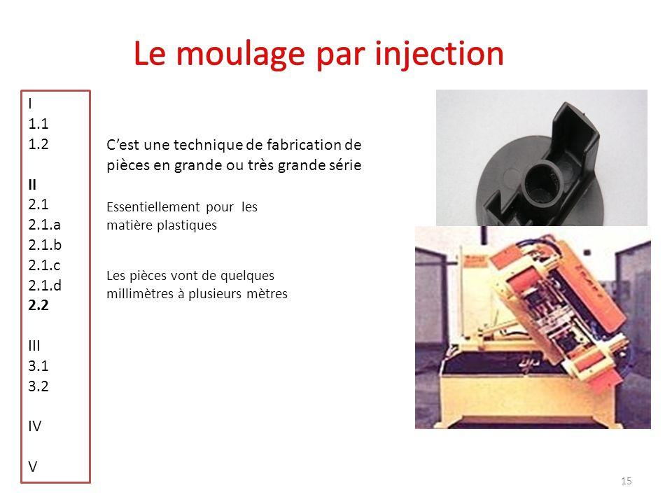 15 Pièce moulé par injection Cest une technique de fabrication de pièces en grande ou très grande série Essentiellement pour les matière plastiques Le