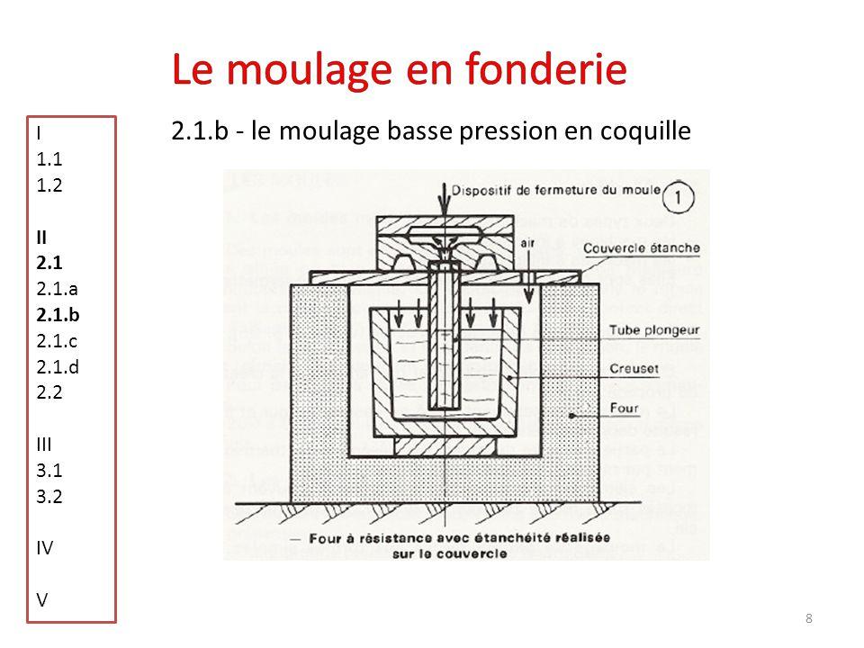 9 2.1.c - le moulage sous pression I 1.1 1.2 II 2.1 2.1.a 2.1.b 2.1.c 2.1.d 2.2 III 3.1 3.2 IV V On force le métal à sintroduire dans un moule métallique sous forte pression De plusieurs gramme à 50 kg Dune section allant de 0.5 à 12 mm 200 Pièces/heures
