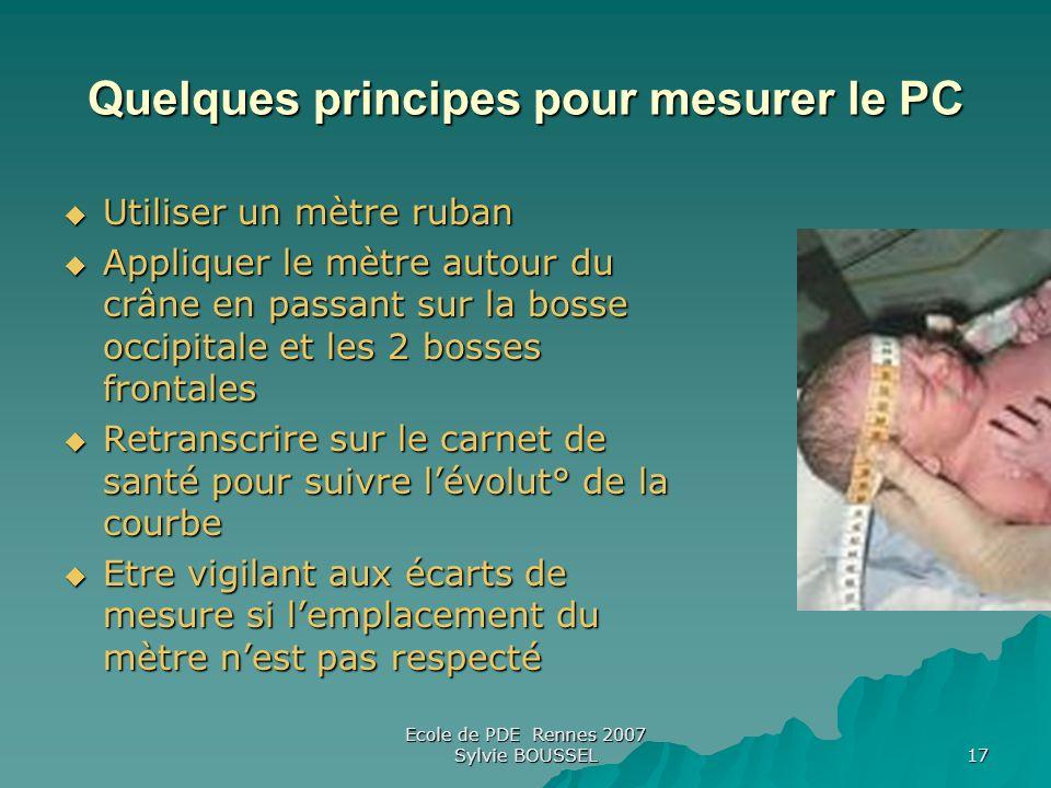 Ecole de PDE Rennes 2007 Sylvie BOUSSEL 17 Quelques principes pour mesurer le PC Utiliser un mètre ruban Utiliser un mètre ruban Appliquer le mètre au
