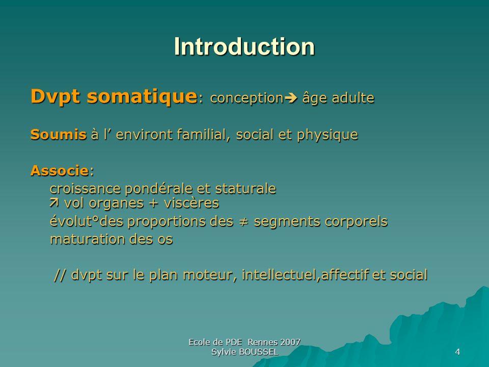 Ecole de PDE Rennes 2007 Sylvie BOUSSEL 4 Introduction Dvpt somatique : conception âge adulte Soumis à l environt familial, social et physique Associe