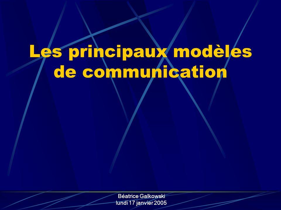 Béatrice Galkowski lundi 17 janvier 2005 Les principaux modèles de communication