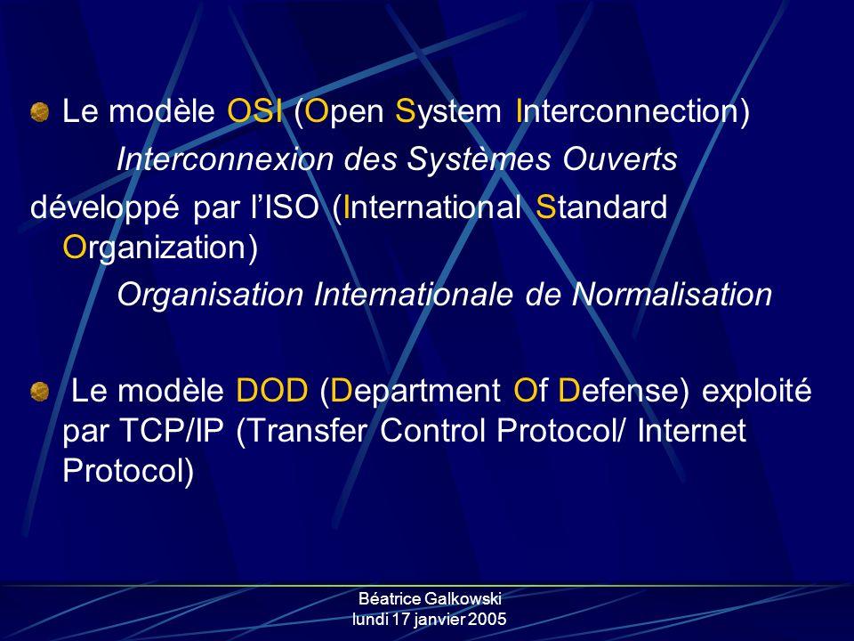 Béatrice Galkowski lundi 17 janvier 2005 Le modèle OSI (Open System Interconnection) Interconnexion des Systèmes Ouverts développé par lISO (International Standard Organization) Organisation Internationale de Normalisation Le modèle DOD (Department Of Defense) exploité par TCP/IP (Transfer Control Protocol/ Internet Protocol)