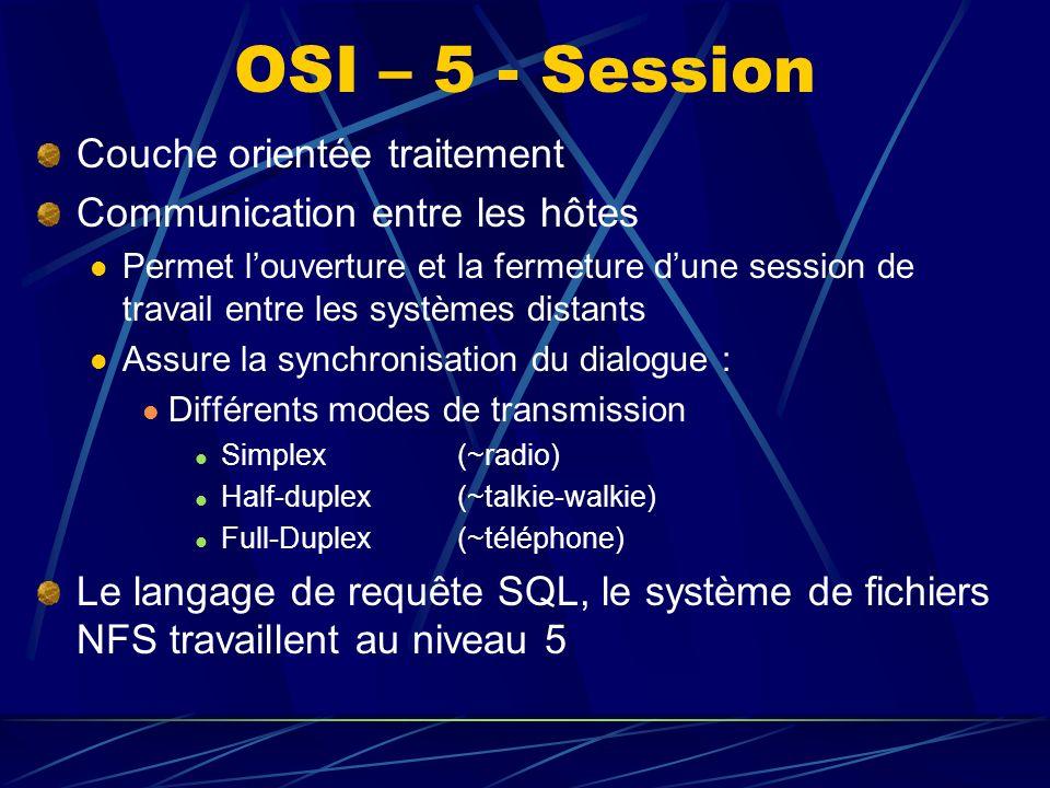 OSI – 5 - Session Couche orientée traitement Communication entre les hôtes Permet louverture et la fermeture dune session de travail entre les systèmes distants Assure la synchronisation du dialogue : Différents modes de transmission Simplex (~radio) Half-duplex (~talkie-walkie) Full-Duplex (~téléphone) Le langage de requête SQL, le système de fichiers NFS travaillent au niveau 5
