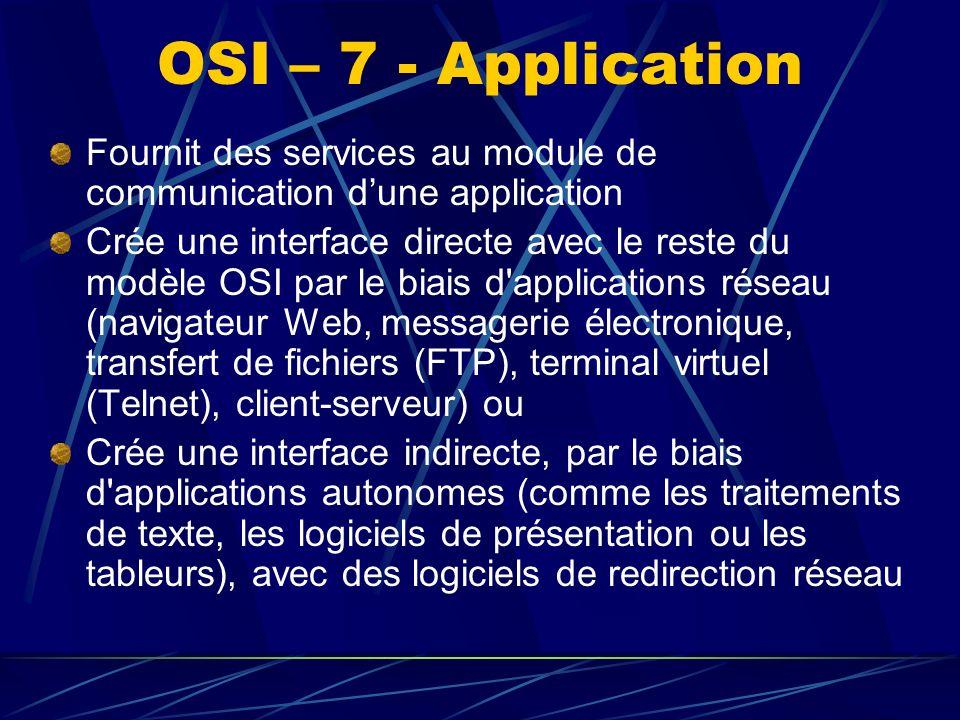OSI – 7 - Application Fournit des services au module de communication dune application Crée une interface directe avec le reste du modèle OSI par le biais d applications réseau (navigateur Web, messagerie électronique, transfert de fichiers (FTP), terminal virtuel (Telnet), client-serveur) ou Crée une interface indirecte, par le biais d applications autonomes (comme les traitements de texte, les logiciels de présentation ou les tableurs), avec des logiciels de redirection réseau