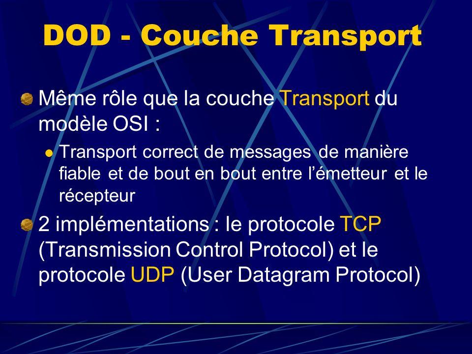 DOD - Couche Transport Même rôle que la couche Transport du modèle OSI : Transport correct de messages de manière fiable et de bout en bout entre lémetteur et le récepteur 2 implémentations : le protocole TCP (Transmission Control Protocol) et le protocole UDP (User Datagram Protocol)