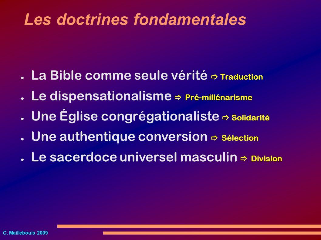 C. Maillebouis 2009 La Bible comme seule vérité Traduction Le dispensationalisme Pré-millénarisme Une Église congrégationaliste Solidarité Une authent