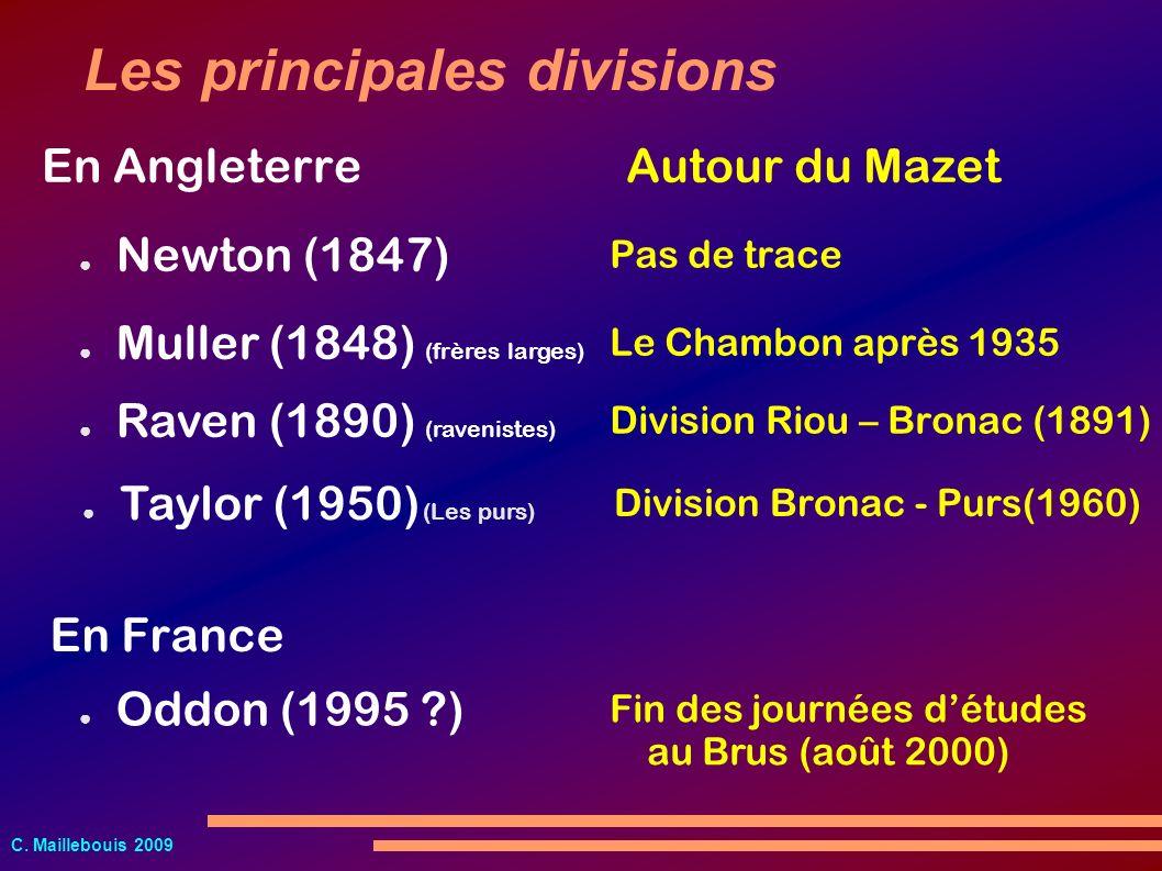 C. Maillebouis 2009 Muller (1848) (frères larges) Newton (1847) Les principales divisions Raven (1890) (ravenistes) Oddon (1995 ?) En Angleterre Taylo