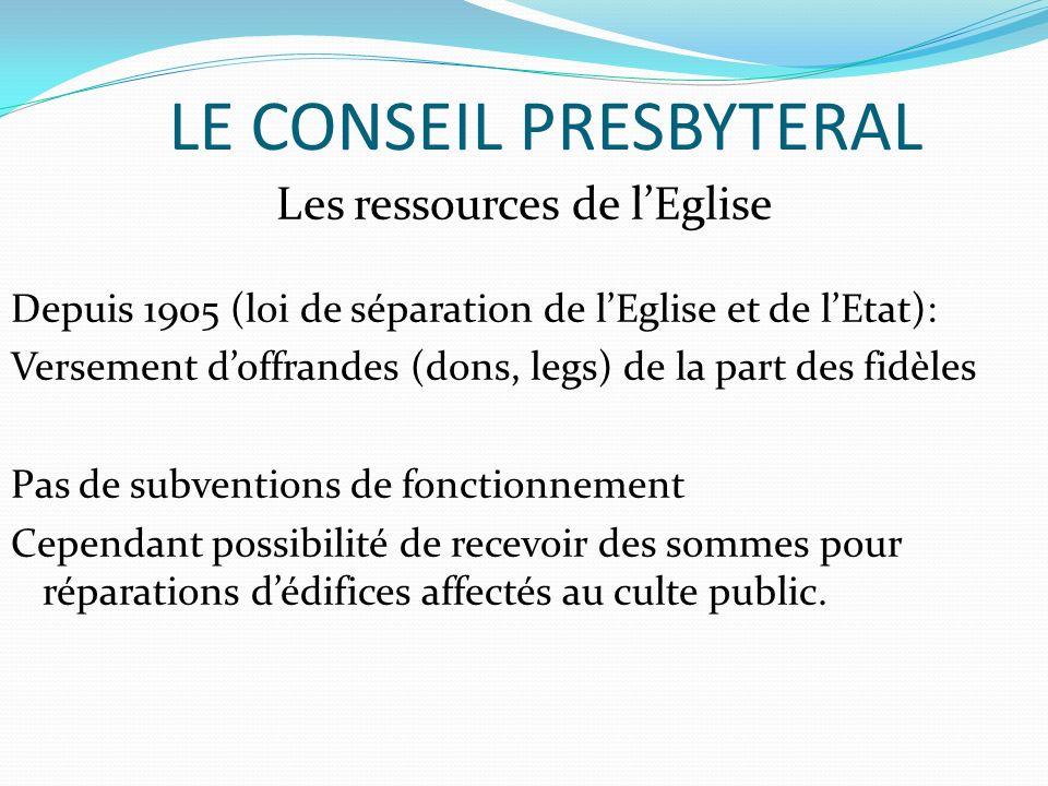 LE CONSEIL PRESBYTERAL Les ressources de lEglise Depuis 1905 (loi de séparation de lEglise et de lEtat): Versement doffrandes (dons, legs) de la part