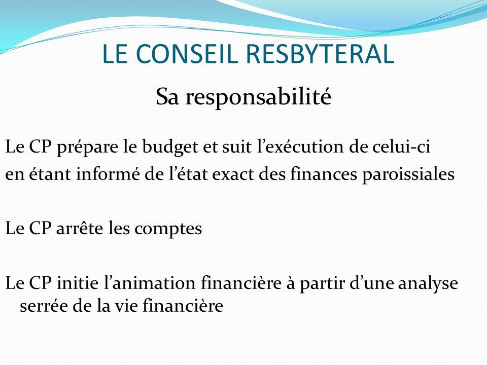 LE CONSEIL RESBYTERAL Sa responsabilité Le CP prépare le budget et suit lexécution de celui-ci en étant informé de létat exact des finances paroissial