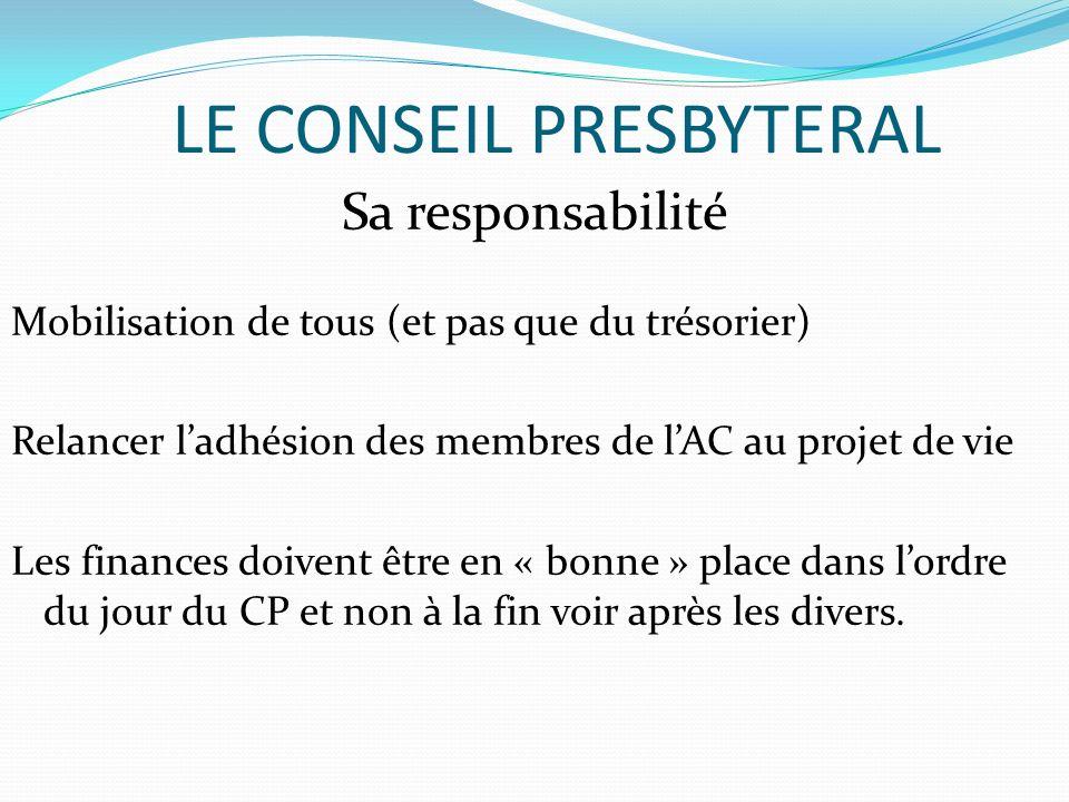 LE CONSEIL PRESBYTERAL Sa responsabilité Mobilisation de tous (et pas que du trésorier) Relancer ladhésion des membres de lAC au projet de vie Les fin