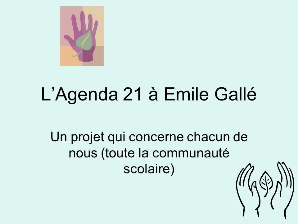 LAgenda 21 à Emile Gallé Un projet qui concerne chacun de nous (toute la communauté scolaire)