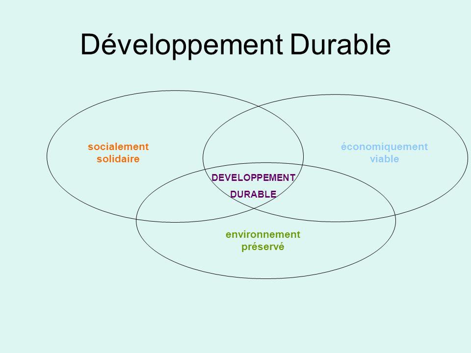 économiquement viable socialement solidaire environnement préservé DEVELOPPEMENT DURABLE Développement Durable